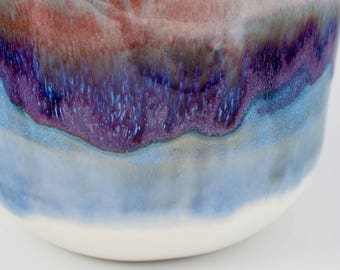 Small Mixing Bowl - Ceramic Serving Bowl - Stoneware Bowl - White Bowl with Purple and Blue - Pottery Bowl - Ice Cream Bowl - Hostess Gift