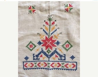 Sale Embroidered Scandinavian Tablecloth with Fringe