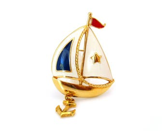 AVON Sailboat Anchor Enamel Brooch | Nautical Boat Red Blue Figural Pin | Vintage Costume Jewelry