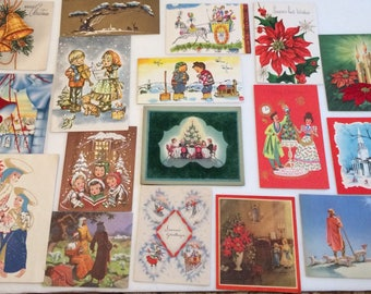 Lot of 19 Vintage Christmas Cards 59s Flocking Glitter
