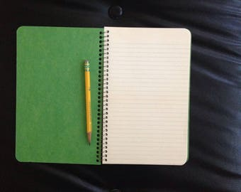 vintage back to school spiral-bound notebook 80s 90s green lined paper NOS