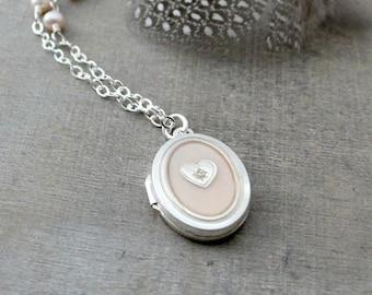 VACATION SALE Mother of Pearl Locket Necklace, Sterling Silver Locket Pendant, Unique Locket, Photo Locket, Vintage Oval Locket, Push Presen