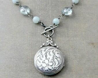 VACATION SALE Silver Photo Locket, Sterling Silver Locket Necklace, Vintage Birks Locket Pendant, Push Gift, Keepsake Locket, Round Locket,