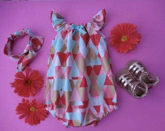 Sunsuit romper playsuit for babies and toddlers melon orange, mint green, gold metallic with matching top knot headband