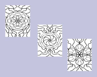 Set of Three Kaleidoscopic Themed Coloring Patterns Digital Downloads Art Therapy