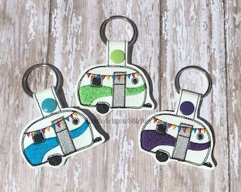 Vintage Camper Key Fob, Travel Trailer Key Chain, Swirl of Color, Pick a Color