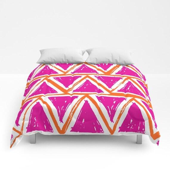 Magenta Comforter - Twin XL Comforter - Queen Comforter - King Comforter - Pink Full Comforter - Twin Comforter Twin XL Bedding Triangle