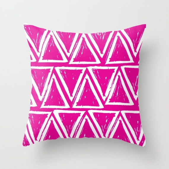 OUTDOOR Throw Pillow - Magenta Outdoor Pillow - Pink patio cushion - Modern Geometric Pillow Triangle -  16 18 20 inch - Outside Pillow