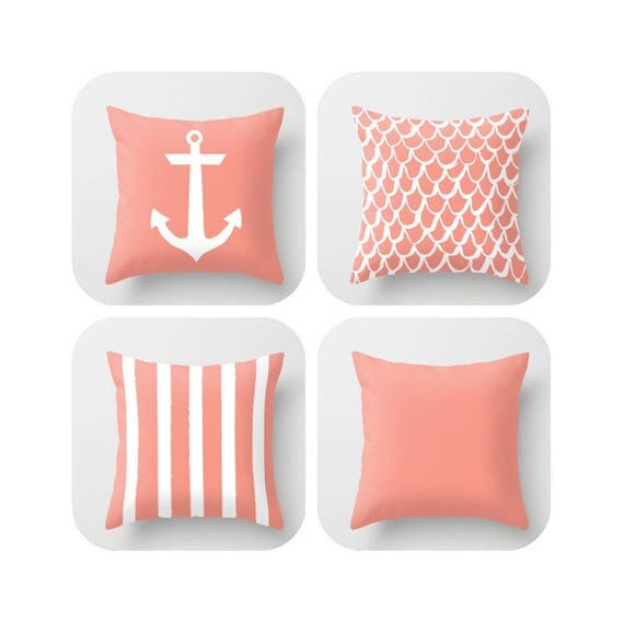 OUTDOOR Throw Pillow . Peach Mermaid Pillow . Coastal Patio Cushion . Anchor Pillow . Peach Stripe Pillow . 16 18 20 inch . Outside Pillow