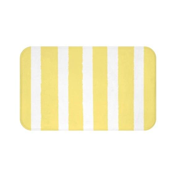 Bath Mat . Buttercup Yellow Bath Mat . Striped Bath Mat . Yellow Bath Rug . Shower Mat .  Yellow Striped Rug . Yellow Striped Bath Mat