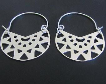Tribal Earrings, Ethnic Earrings, Boho Earrings, Sterling silver hoop earrings, Hoops, Sterling Silver Jewelry, Gift for Her