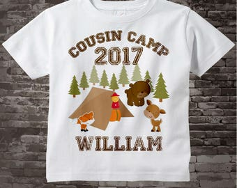 Personalized Cousin Camp Shirt or Onesie, perfect for Grandma's summer camp Boys or Girls |Summer Outdoors 08042012b