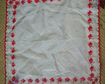 Beautiful Sheer Flocked Poinsetta Vintage Hankerchief