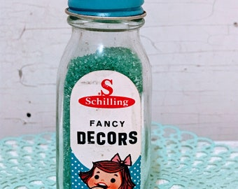 Vintage jar of Schilling fancy decors sprinkles-1950 by Mc Cormick