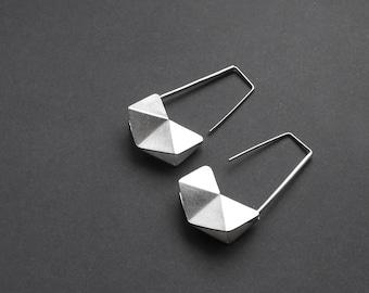 Geometric Silver Earrings, Sterling Silver Hook Earrings, Geometric Drop Earrings, Minimalist Silver Earrings, Statement Silver Earrings