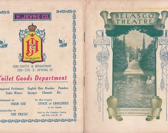1908 Play Program for The Heir to the Hoorah Belasco Theatre Los Angeles CA