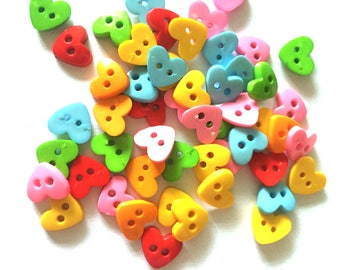 80 pcs  Cute heart buttons 2 holes for crafts findings size 10 mm mix colors