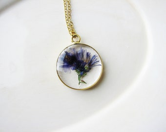 Aster Necklace, Real Flower Necklace, Nature Lovers Jewelry, Botanical Jewelry, Pressed Flower Necklace, Floral Jewelry, Resin Jewely