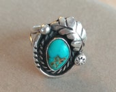 RESERVE LISTING FOR C. Duplat, Native American Ring, Sterling Silver & Turquoise, size 6.5