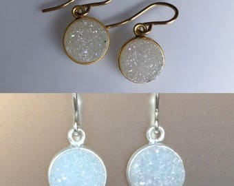 Opalescent Druzy Quartz Earrings in sterling silver or yellow gold, pink quartz, drop, dangle, opal, round druzy, white