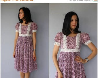 48 HR FLASH SALE Vintage 1970s Dress   1960s Dress   70s Dress   Empire Waist Dress   1970s Crochet  Dress   1970s Midi Dress   60s Dress -