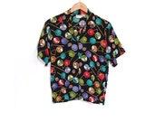 SPRING 20 SALE Vintage 80s Unisex BILLIARDS Fun Retro Print Cue Ball Button Up Blouse small