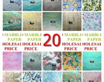 20 marbled paper, bookbinding,  cm 50 x 70, carta marmorizzata a mano- 119h