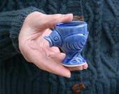 Set of two stoneware egg cups - chicken design glazed in ocean blue