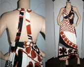Vintage 60's Hawaiian Maxi Dress with Mid-Century Print and Gorgeous Back Design by Malia. Small.