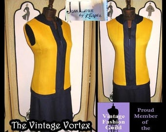 Summer Sale 20% Off Vintage 60s MOD Color Block Dress by Kasper in Marigold and Navy. Winter Weight. L Large.
