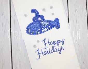 Happy Holidays Snowflake Submarine Holiday Kitchen Towel