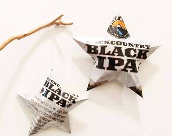 BackCountry Black IPA Ornamental Star, Recycled Aluminum Ornament, North Carolina Beer, NC Deep River Brewing