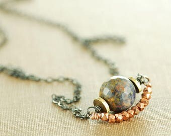 Mixed Metal Blue Copper Gemstone Necklace, Sodalite Faceted Modern Rustic Layered Necklace