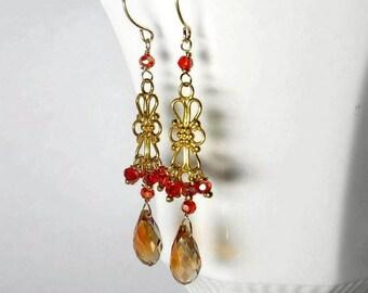 Crystal Chandelier Earring Gold Chandelier Earring Crystal Cluster Earring Yellow Orange SALE