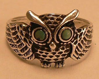 Sterling Owl Ring Turquoise Eyes