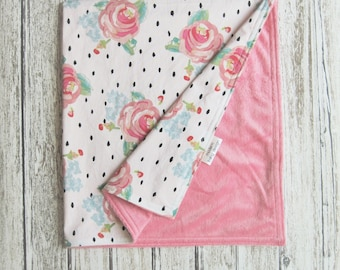 White and Pink Watercolor Floral Baby Blanket, Pink Minky Baby Blanket, Pink Black and White Flower Baby Blanket