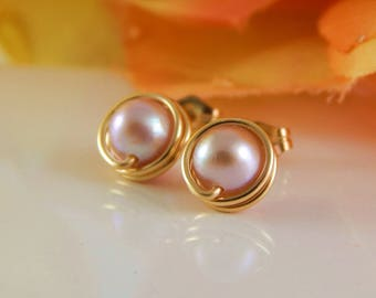 Blush Pink Pearl Posts - Freshwater Pearl Studs - Gold Posts - Adonia Jewelry
