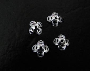Four - Sterling Silver 7.5mm Bead Caps