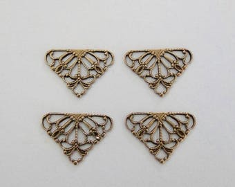 6 Antiqued Gold - Brass 15x11mm Filigree Triangle Connectors, Made in USA