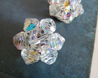 On SALE Vintage AB Glass Cluster Bead Clip Back Earrings