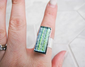 Medium Glass Cocktail Ring (adjustable) – striped green