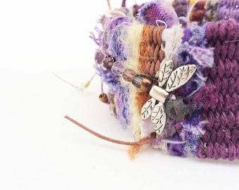 Tapestry Cuff Bracelet with Dragonfly, Woven Hemp Boho Wristlet, Soft Button on style, Burgundy Purple