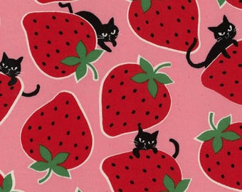 Kokka Japanese Textiles - Strawberry Cat in Pink