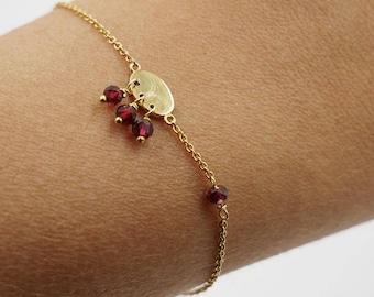 Gold Bracelet | Garnet and Disc Bracelet | Dainty Bracelet