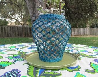 Vintage Wicker Wrapped Vase