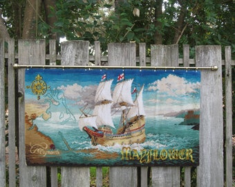 Vintage Wall Hanging Pictorial  Rug, Plymouth Mayflower , Clipper Ship Woven Nautical Wall Feature