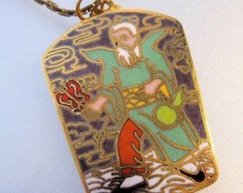SHIPS 6/26 w/FREE Jewelry Cloisonne Chinese Man Enamel Pendant Necklace Vintage Jewelry Jewellery