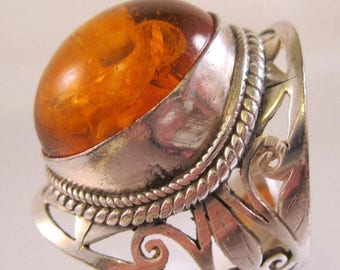 XMAS in JULY SALE Big Amber Sterling Silver Open Work Ring Size 7.5 Vintage Jewelry Jewellery