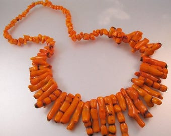 """XMAS in JULY SALE Vintage Graduated Orange Branch Coral Necklace 25""""  Jewelry Jewellery"""