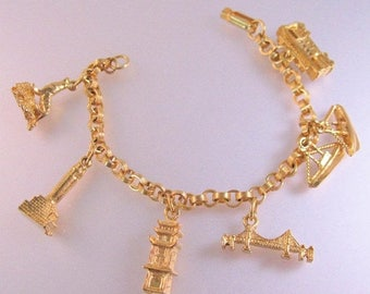SALE & FREE SHIPPING 1960's San Francisco Charm Bracelet Gold Plated Costume Jewelry Jewellery